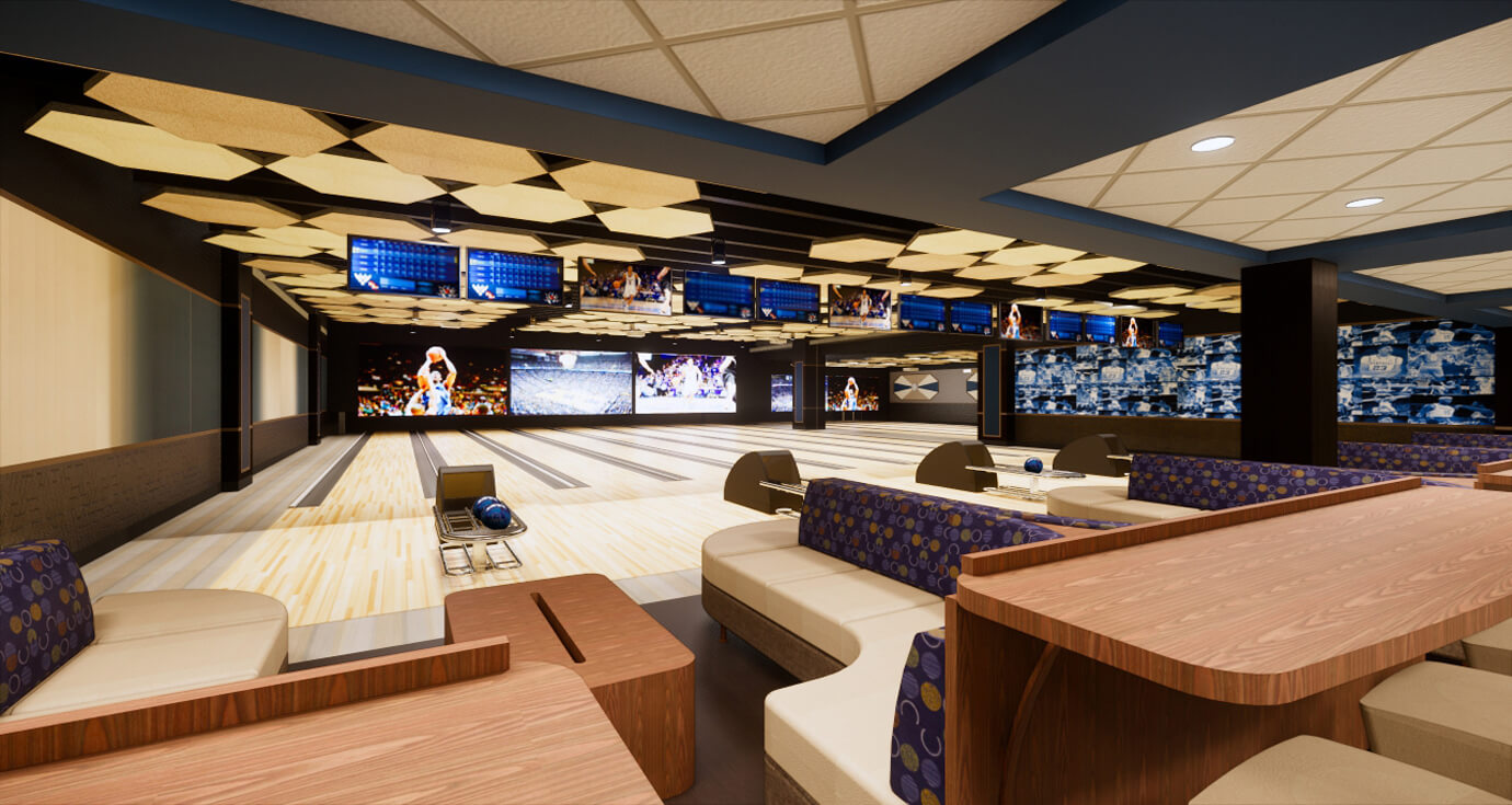 Rendering of main section of bowling lanes