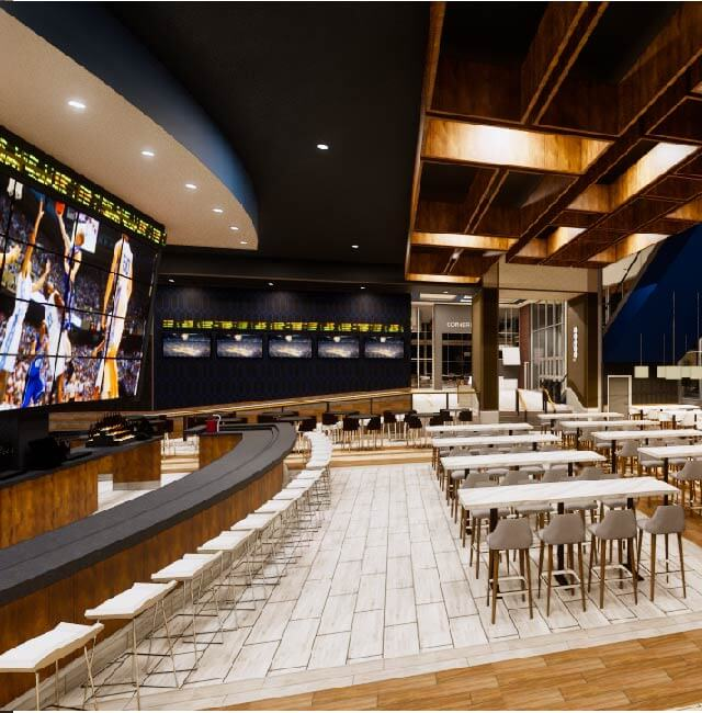 Rendering of Game Day Sports Bar seating and screens