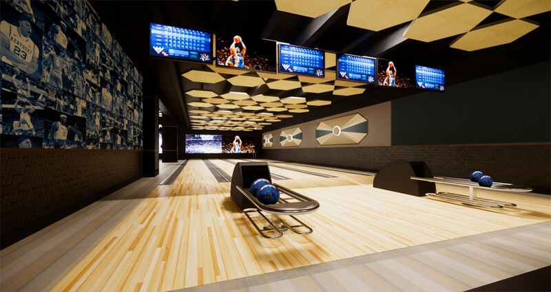 Rendering of VIP section of bowling lanes