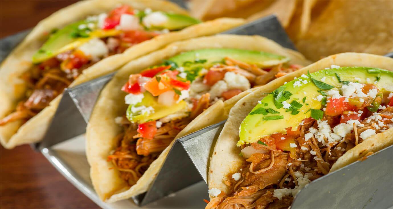 Image of three adobo chicken street tacos